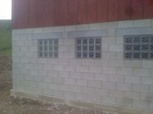 Here's a picture of three of the nine glass block windows we installed at the barn.